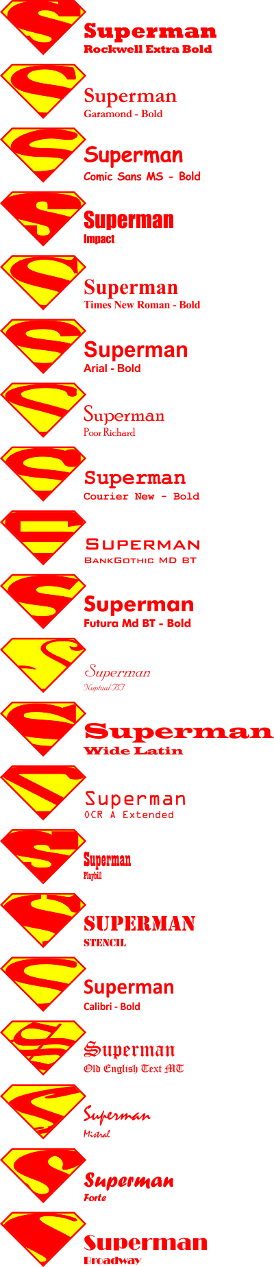 Superman logo in 20 fonts dmagy published by dmagy voltagebd Image collections